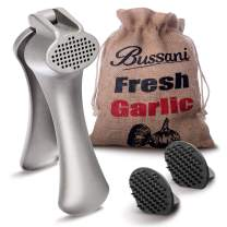 Bussani Garlic Press Easy to Clean No Need to Peel - Prestige Design - Comes with 2 Cleaning Tools in a Keeper Burlap Bag for Storage Fresh Garlic, Useful for Fresh Ginger Grater Crusher.