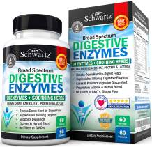 BioSchwartz Digestive Enzymes Supplement - Broad Spectrum 10 Enzymes + Herbal Comfort Blend - Vegan Formula for Digestion & Bloating Support - with Bromelain, Papain & Amylase - 60 Count