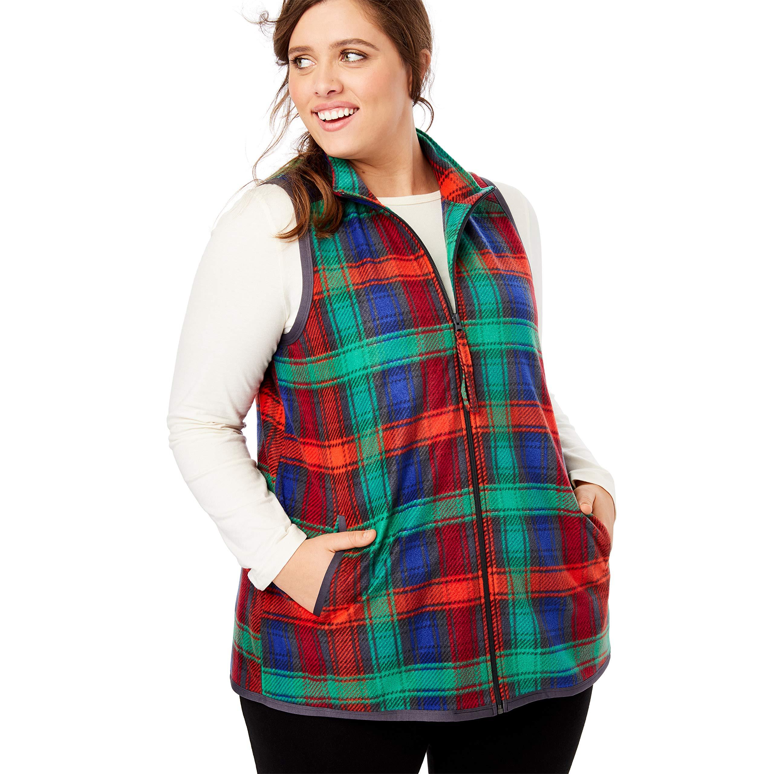 Woman Within Women's Plus Size Zip-Front Microfleece Vest - 4X, Black Multi Plaid