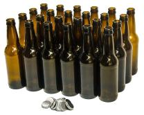 North Mountain Supply - ABB-CC-24 12 Ounce Long-neck Amber Beer Bottles - Case of 24 - Includes Crown Caps