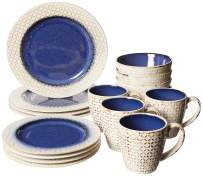 "American Atelier 6590-16BL-RB Piper 16 Piece Round Dinnerware Set 11x11"" Blue/White"