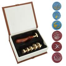 Wax Seal Stamp Set, Yoption 6 Pieces Sealing Wax Stamps Copper Seals + 1 Piece Wooden Hilt Vintage Retro Classical Initial Sealing Wax Stamp Kit (Moon and Star Suit)