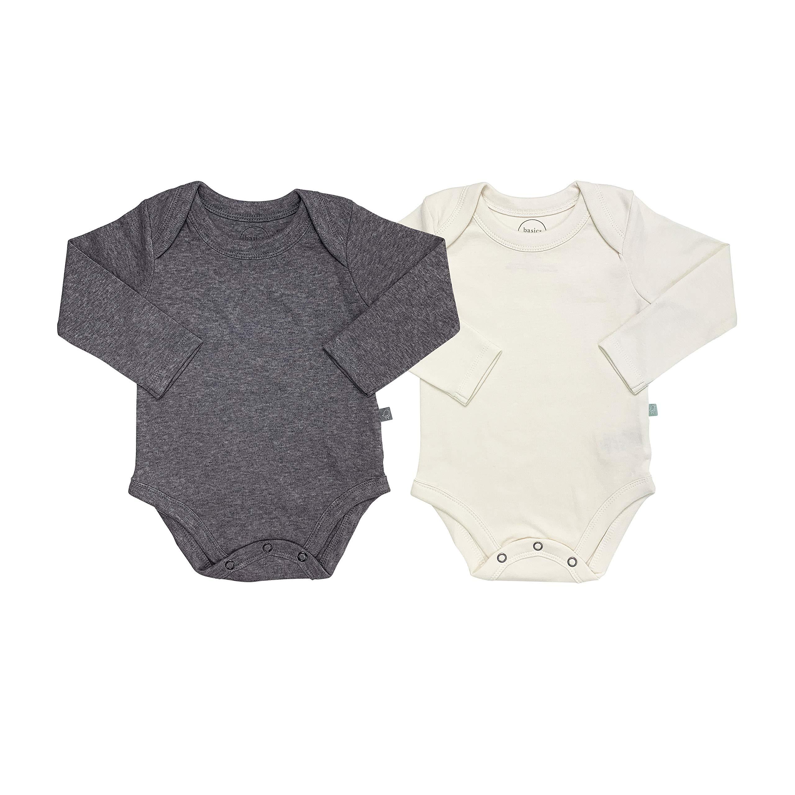 Finn + Emma Basics 2 Pack Long Sleeve Baby Bodysuit - Ivory White & Charcoal Gray, 6-9m