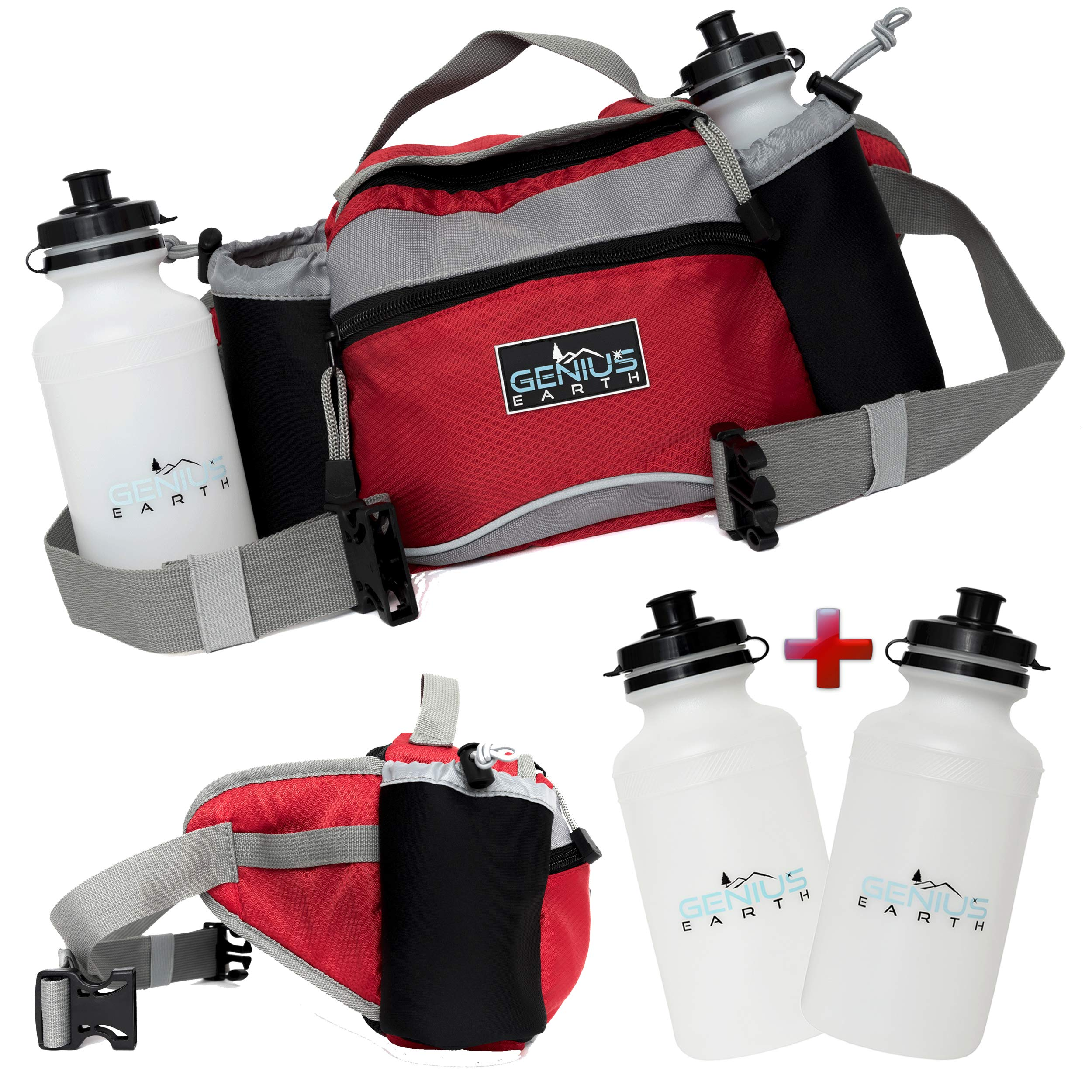 Genius Earth Travel/Hiking Fanny Pack with Water Bottle Holder, Set of 2 Bottles Included. Multipurpose Waterproof Waist Bag and Lumbar Pouch – Fits Women, Men and Kids. Perfect Dog Walking Pack.