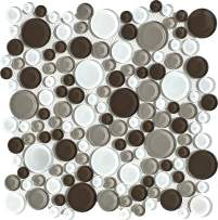 "Simple Tile - 5 Sheets Glass Mosaic Tile for Kitchen Backsplash, Bathroom Shower Wall, Etc, ""Bubble Collection"", Mixed Rounds, 12""X12""X5/16"" (Set of 5 Sheets, GM 4102 - Tapioca)"