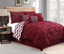 Avondale Manor 7-Piece Venice Pinch Pleat Comforter Set, Queen, Red