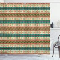 """Ambesonne Colorful Shower Curtain, Style Striped Pattern with Elements Art Print, Cloth Fabric Bathroom Decor Set with Hooks, 70"""" Long, Coral Teal"""