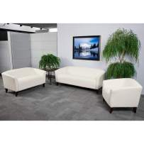 Flash Furniture HERCULES Imperial Series Reception Set in Ivory LeatherSoft