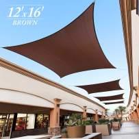 Royal Shade 12' x 16' Brown Rectangle Sun Shade Sail Canopy, 95% UV Blockage, Heavy Duty 200GSM, Custom Made Size