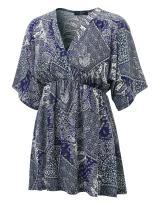 LL Womens V Neck Short Sleeve Kimono Top - Made in USA