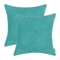 CaliTime Pack of 2 Comfy Throw Pillow Covers Cases for Couch Sofa Bed Decoration Comfortable Supersoft Corduroy Corn Striped Both Sides 22 X 22 Inches Turquoise
