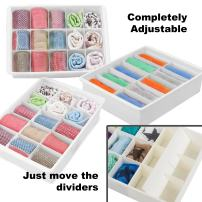 Uncluttered Designs Adjustable Drawer Organizers (3 Set) with Customizable Dividers in Stackable Durable Chic Plastic for Your Lingerie Clothes Office Desk Crafts Toys & Bathroom Storage