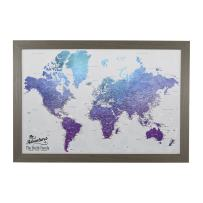 Push Pin Travel Maps Canvas - Personalized Vibrant Violet World with Barnwood Gray Frame