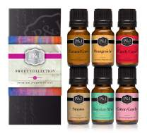 Sweet Set of 6 Premium Grade Fragrance Oils - Chocolate Mint, Cotton Candy, Caramel Corn, Orangesicle, Candy Cane, and Smores - 10ml
