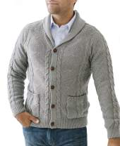 Hope & Henry Mens' Shawl Collar Cable Cardigan