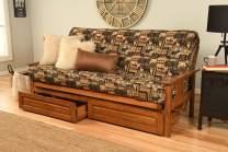 Kodiak Furniture Monterey Futon Set with Barbados Finish and Storage Drawers, Full, Peter's Cabin