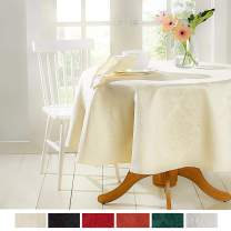 "Town & Country Living Lexington Spring Damask Tablecloth-Traditional/Stain Resistant/Machine Washable/Cotton Polyester Blend, 70"" Round Cream"
