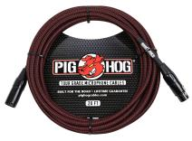 Pig Hog PHM20BRD Black/Red Woven High Performance XLR Microphone Cable, 20 Feet