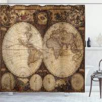 "Ambesonne World Map Shower Curtain, Old World Map Drawn in 1720s Nostalgic Style Art Historical Atlas Vintage Design, Cloth Fabric Bathroom Decor Set with Hooks, 70"" Long, Brown"