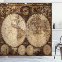 """Ambesonne World Map Shower Curtain, Old World Map Drawn in 1720s Nostalgic Style Art Historical Atlas Vintage Design, Cloth Fabric Bathroom Decor Set with Hooks, 70"""" Long, Brown"""