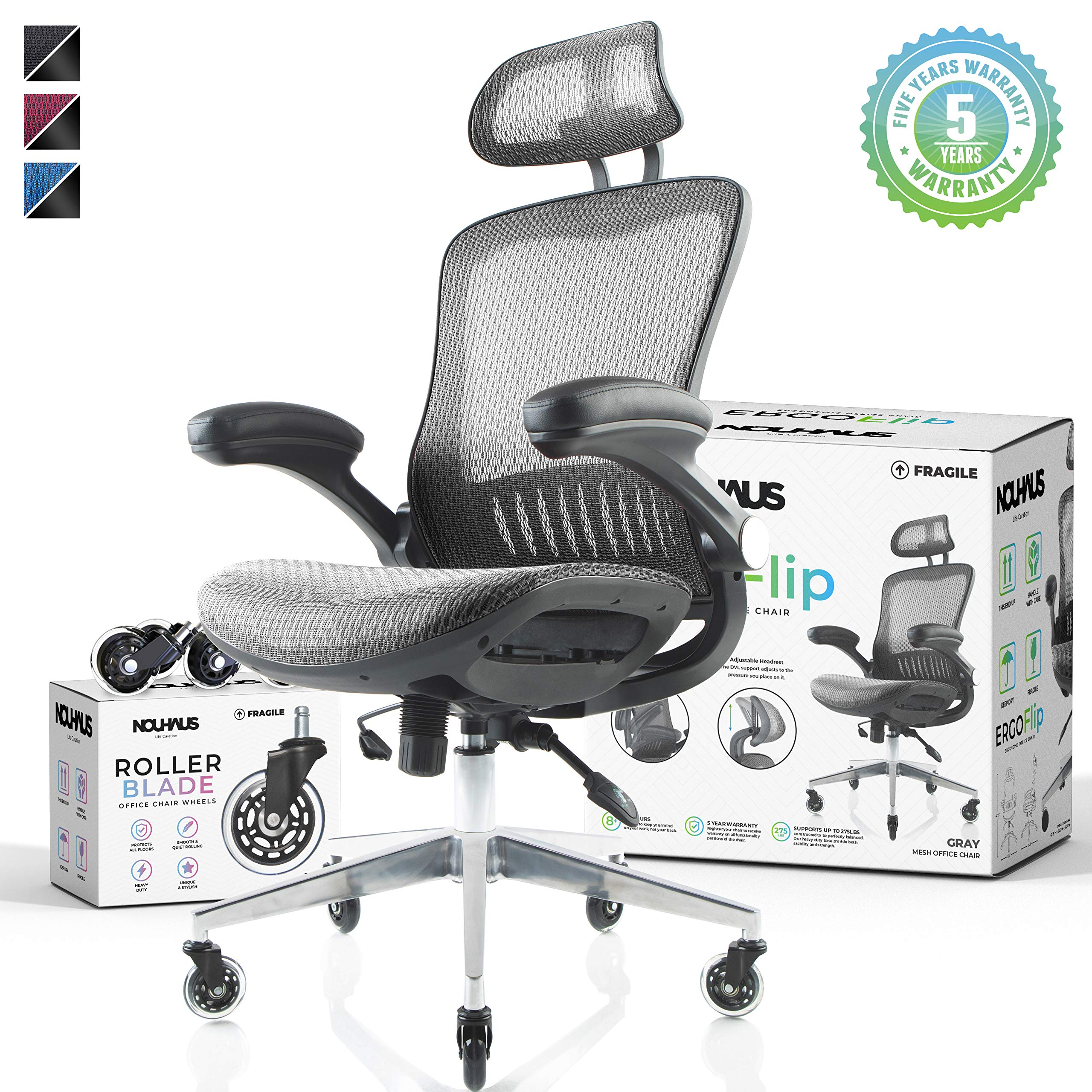 Nouhaus Ergoflip Mesh Computer Chair Grey Rolling Desk Chair With Retractable Armrest And Blade Wheels Ergonomic Office Chair Gaming Chairs Executive Swivel Chair High Spec Base