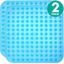 Sierra Concepts 2-Pack Blue Color Square Shower, Bathtub, Bath and Tub Mat (21x21), Machine Washable, Antibacterial, BPA, Latex, Phthalate Free, Square Bathroom Mats with Drain Holes, Suction Cups