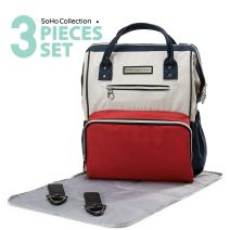 SoHo Collections, Multi-Function Waterproof Travel Backpack 3 pcs Diaper Bags Set. (Tri-Tone)