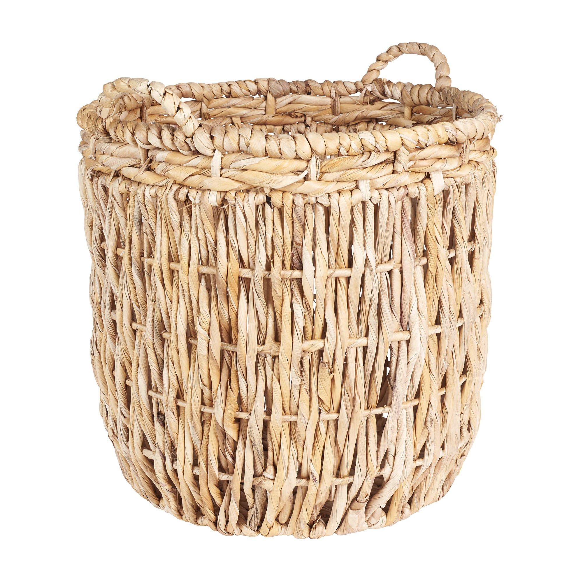 Household Essentials Brown Tall Round Wicker Storage Basket