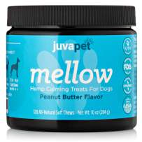 JUVAPET Calming Treats for Dogs with Hemp Oil and Valerian Root to Aid with Dog Anxiety Relief. Helps with Fireworks, Barking, Chewing, Thunder and Separation - 120 Soft Chews - Peanut Butter Bites