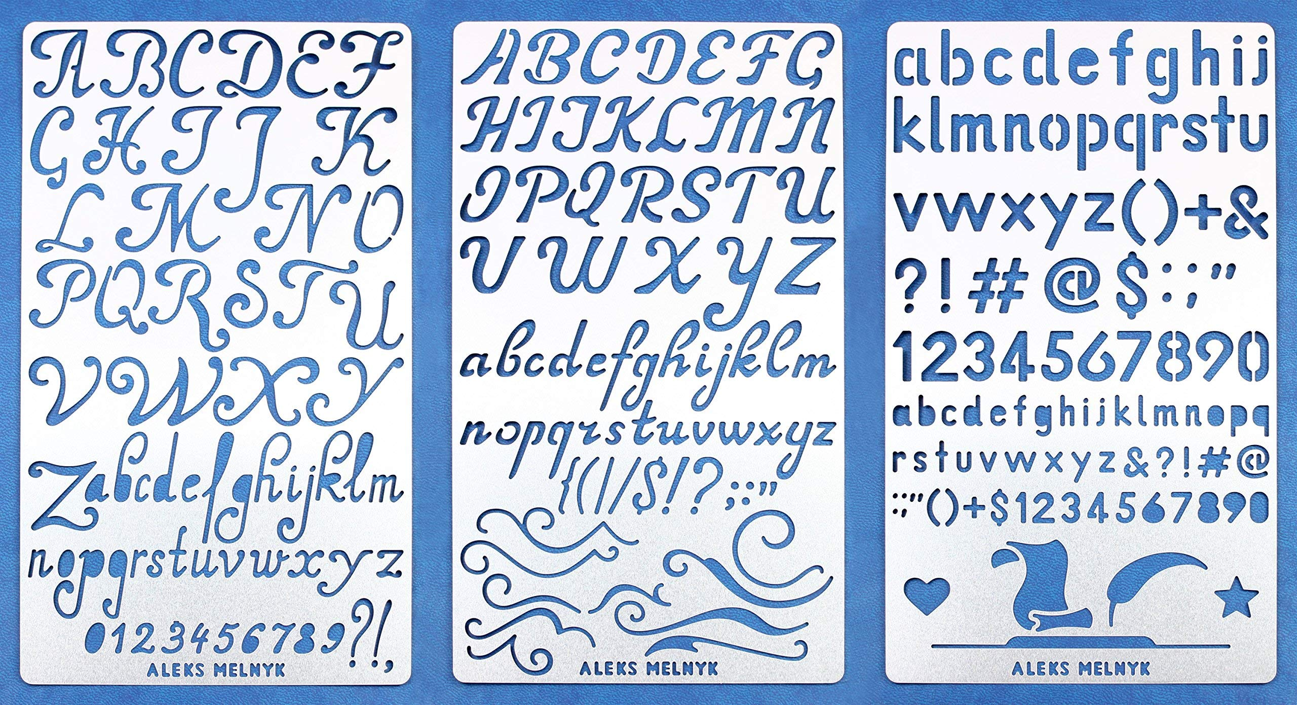 Aleks Melnyk #34 Metal Journal Stencils/Alphabet Letter Number, ABC/Stainless Steel Stencils Kit 3 PCS/Templates Tool for Wood Burning, Pyrography and Engraving/Scrapbooking/Crafting/DIY