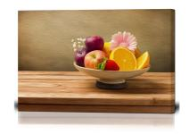 "wall26 - Canvas Wall Art - Vase with Fresh Fruits and Flowers on Wooden Table - Oil Painting Style Giclee Print Gallery Wrap Modern Home Decor Ready to Hang - 16"" x 24"""