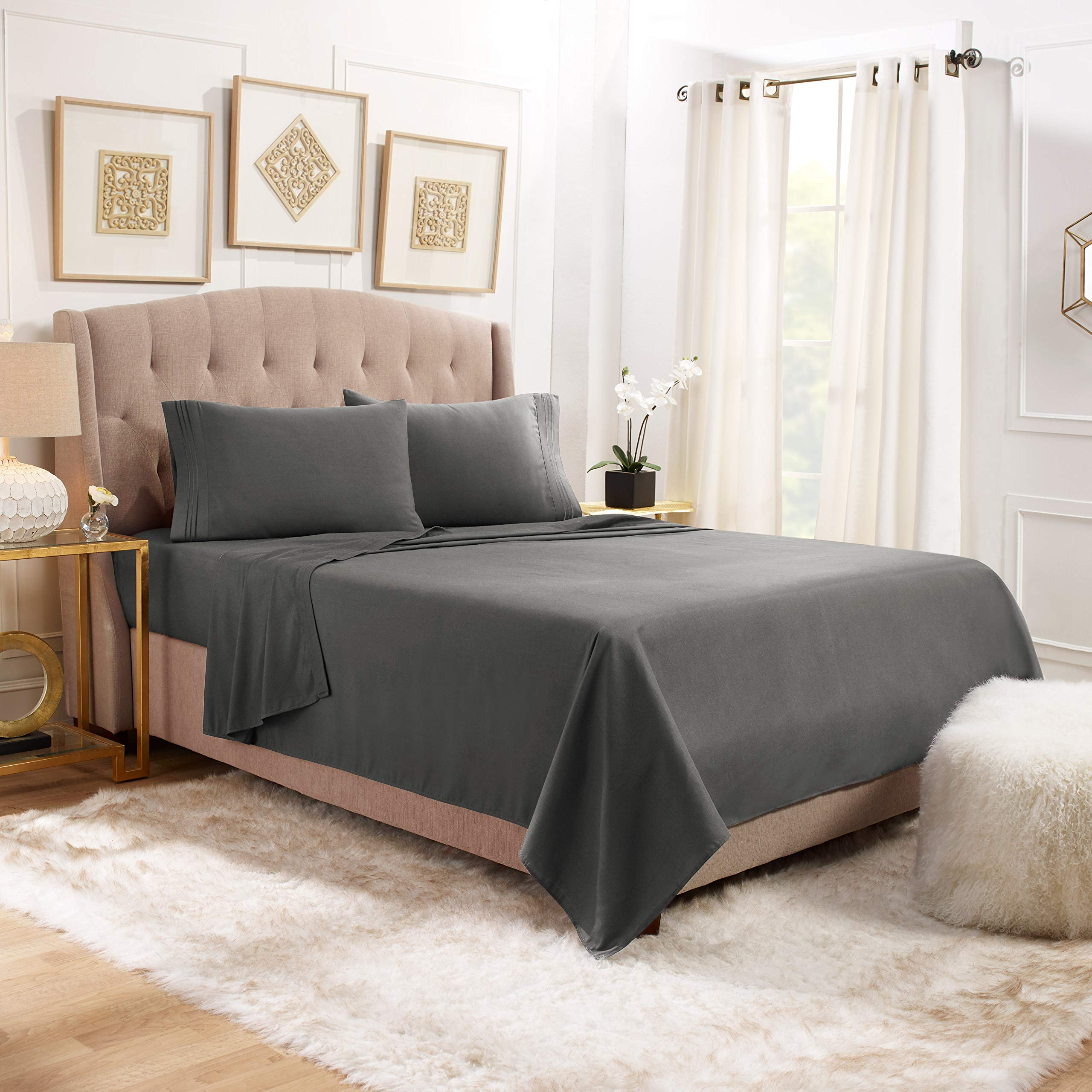 """Empyrean Bedding 14"""" - 16"""" Deep Pocket Fitted Sheet 4 Piece Set - Hotel Luxury Soft Double Brushed Microfiber Top Sheet - Wrinkle Free Fitted Bed Sheet, Flat Sheet and 2 Pillow Cases - Full, Gray"""
