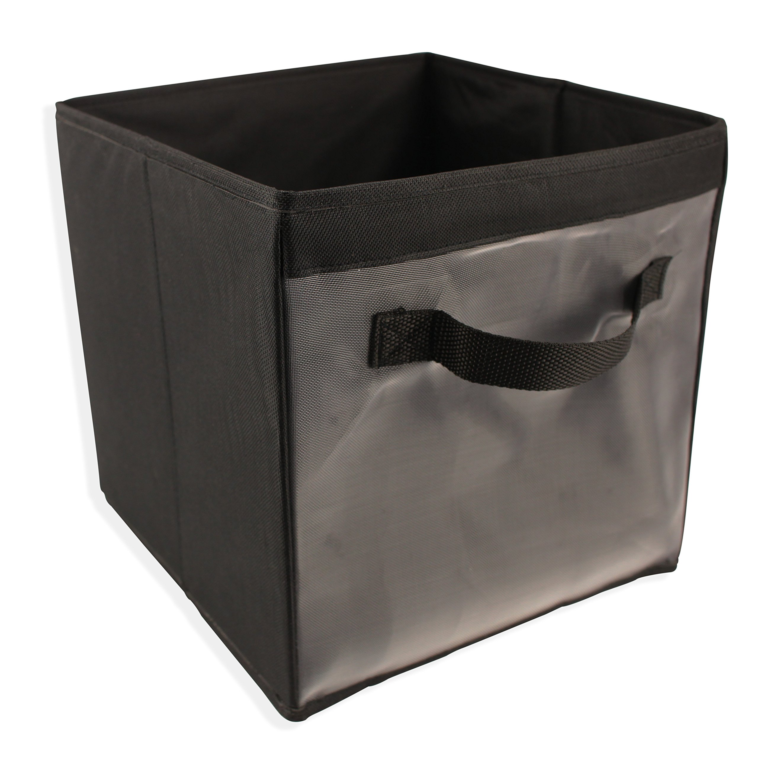EASYVIEW Storage Cube with Handle 100% Woven Oxford Nylon Bin with Mesh See Thru Side 10.5 x 10.5 x 10 Inches, Foldable (Black)