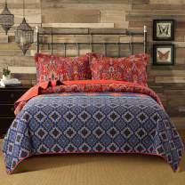 NEWLAKE Quilt Bedspread Sets-Bohemian Floral Pattern Reversible Coverlet Set,Queen Size