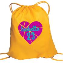 Personalized Basketball Drawstring Bag with Custom Text | Cinch Bag with Customizable Embroidered Monogram Design