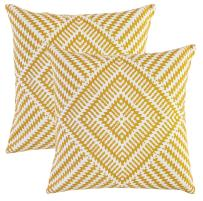 TreeWool, Pack of 2, Throw Pillow Cover Kaleidoscope Accent 100% Cotton Decorative Square Cushion Cases (24 x 24 Inches / 60 x 60 cm; Mustard & Off White)