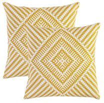 TreeWool, Pack of 2, Throw Pillow Cover Kaleidoscope Accent 100% Cotton Decorative Square Cushion Cases (18 x 18 Inches / 45 x 45 cm; Mustard & Off White)