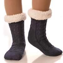 DEBRA WEITZNER Slipper Socks for Women and Men Fleece Socks Gripper Cozy Socks