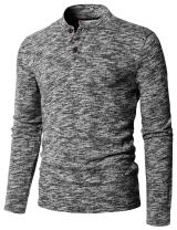 H2H Mens Casual Slim Fit Henley T-Shirts Long Sleeve Knitted Tops of Various Styles