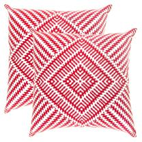 TreeWool, Pack of 2, Throw Pillow Cover Kaleidoscope Accent 100% Cotton Decorative Square Cushion Cases (16 x 16 Inches / 40 x 40 cm; Red & White)