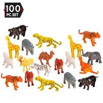 100 Piece Party Pack Mini Wild Jungle Animals - Plastic Mini Educational Jungle Animal Toys - Fun Gift Party