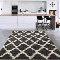 """Silk Road Concepts Collection Charcoal Rugs, 5'3"""" x 7', Dark Gray & Cream"""