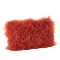 "SARO LIFESTYLE 100% Wool Mongolian Lamb Fur Throw Pillow with Poly Filling, 12"" x 20"""