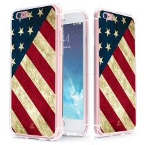 True Color Case Compatible with iPhone 6s Plus American Flag Case - Clear-Shield Vintage American Flag Printed on Clear Back - Soft and Hard Thin Shock Absorbing Protective Bumper Cover