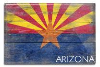 Lantern Press Arizona, Rustic State Flag 52323 (6x9 Aluminum Wall Sign, Wall Decor Ready to Hang)