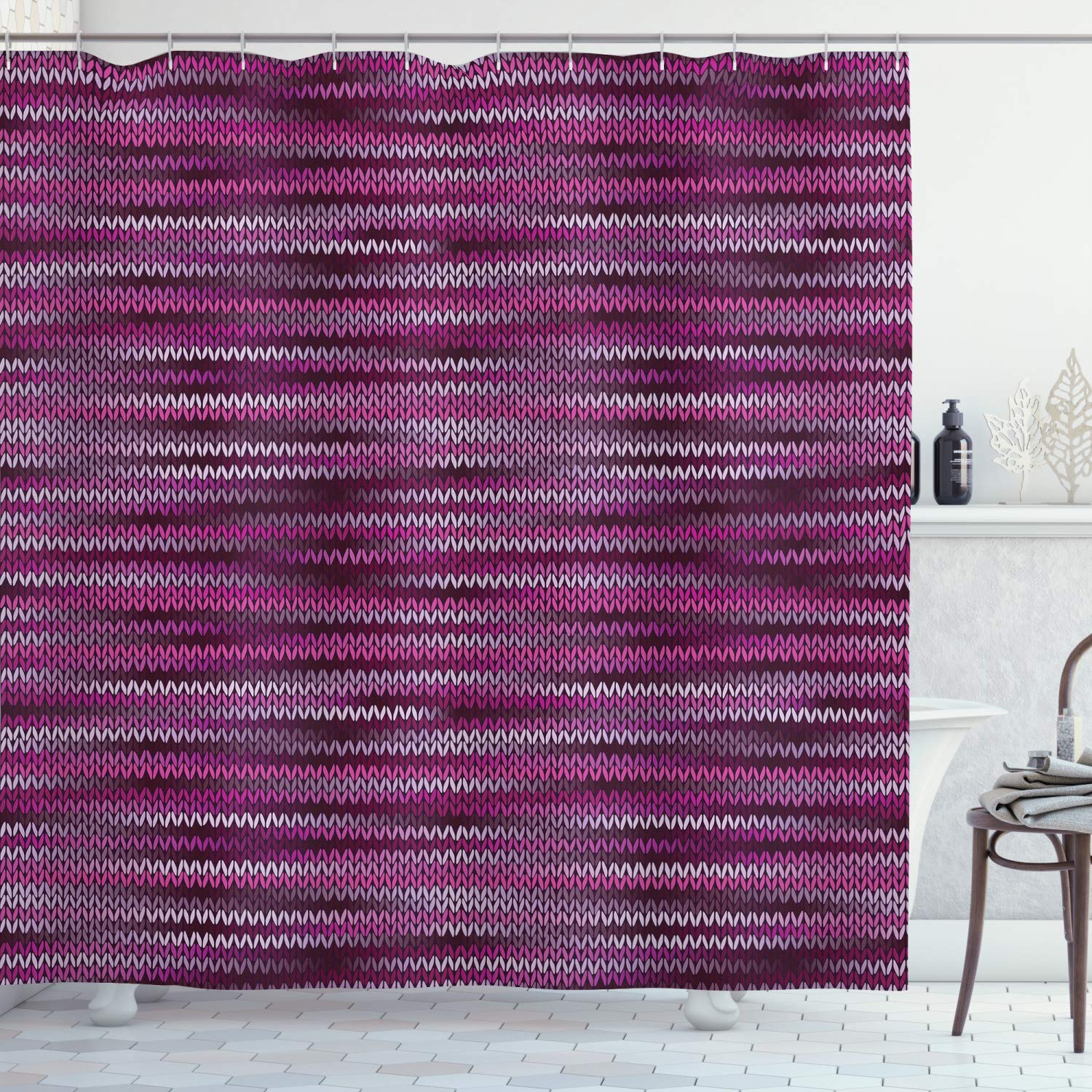 """Ambesonne Magenta Shower Curtain, Vintage Knit Pattern Featured Variations of Pink Tone Nostalgic Vibrant Art, Cloth Fabric Bathroom Decor Set with Hooks, 75"""" Long, Violet Fuchsia"""