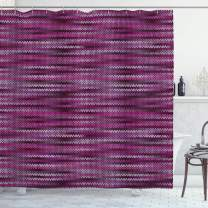 "Ambesonne Magenta Shower Curtain, Vintage Knit Pattern Featured Variations of Pink Tone Nostalgic Vibrant Art, Cloth Fabric Bathroom Decor Set with Hooks, 75"" Long, Violet Fuchsia"