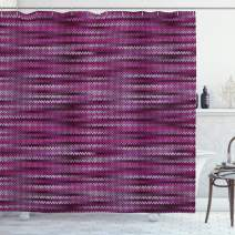 "Ambesonne Magenta Shower Curtain, Vintage Knit Pattern Featured Variations of Pink Tone Nostalgic Vibrant Art, Cloth Fabric Bathroom Decor Set with Hooks, 70"" Long, Violet Fuchsia"