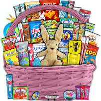 Pink Easter Basket for Kids and Adults 40ct - Already Filled Easter Gift Basket with Plush Easter Bunny, Chocolate, Candy, and Toys - Boys, Girls, Grandchildren, Young Children, Toddlers, Men, Women