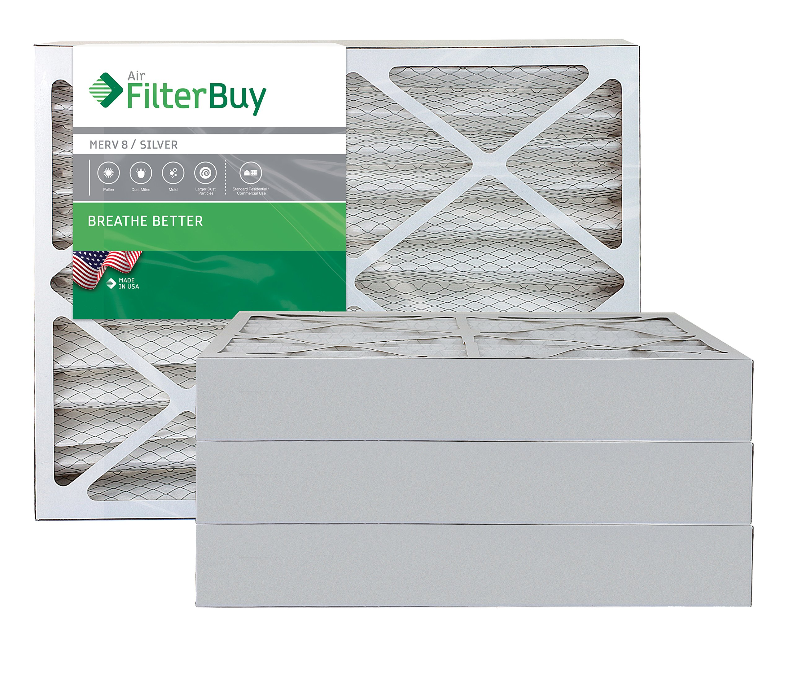 FilterBuy 20x24x4 MERV 8 Pleated AC Furnace Air Filter, (Pack of 4 Filters), 20x24x4 – Silver